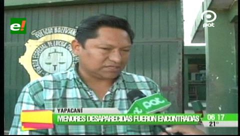 Yapacaní: Menores desaparecidas fueron encontradas en un alojamiento