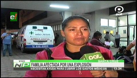 Santa Cruz: Familia afectada por explosión de garrafa continúa en estado crítico