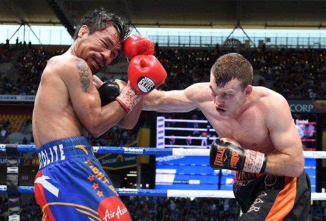 El australiano Jeff Horn conectó un derechazo al filipino Manny Pacquiao (Foto: Reuters)