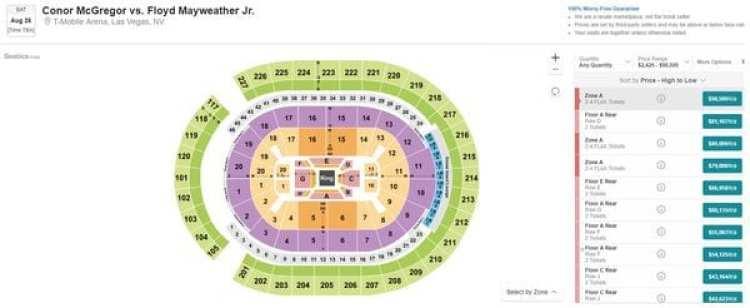 Los precios de los mejores asientos para la pelea de Floyd Mayweather y Conor McGregor