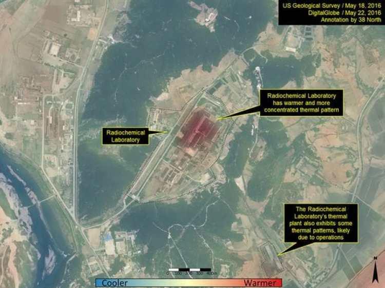Imagen satelital de Yongbyon, una planta nuclear de Corea del Norte.