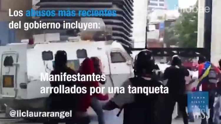"""El mes pasado, HRW pidió a los altos mandos de las fuerzas de seguridad de Venezuela que respondan por los """"abusos generalizados"""""""