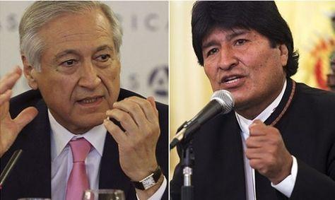 El canciller Heraldo Muñoz y el presidente Evo Morales.