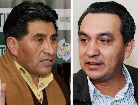 El ministro de Desarrollo Rural y Tierras, César Cocarico, y el senador de Unidad Demócrata (UD), Yerko Núñez.