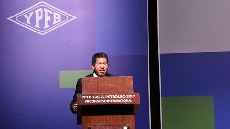 El ministro de Hidrocarburos, Luis Alberto Sánchez, en el Congreso de Gas y Petróleo. Foto Ministerio de Hidrocarburos