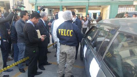 El vehículo marca Toyota Caldina donde los atracadores pretendían huír