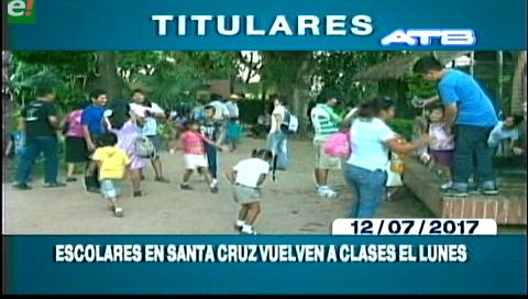 Video titulares de noticias de TV – Bolivia, mediodía del miércoles 12 de julio de 2017