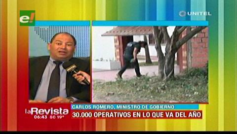 Ministro Romero: 30 mil operativos se realizaron para detener a delincuentes