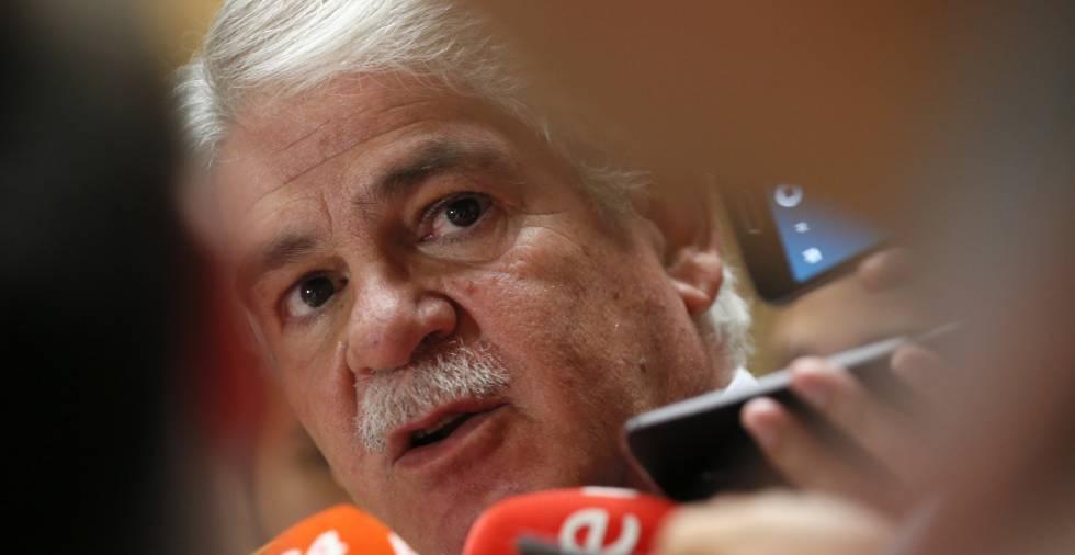 El ministro de Exteriores de España pide sanciones para Venezuela, este martes en Madrid.
