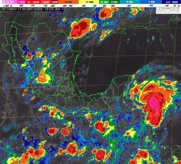 Se pronostican para las próximas horas tormentas intensas en Oaxaca, Península de Yucatán y el sureste de México – @conagua_mx