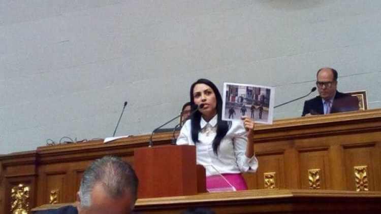 Delsa Solórzano, durante la sesión en la Asamblea Nacional