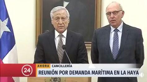 El canciller chileno Heraldo Muñoz durante su conferencia de prensa de hoy