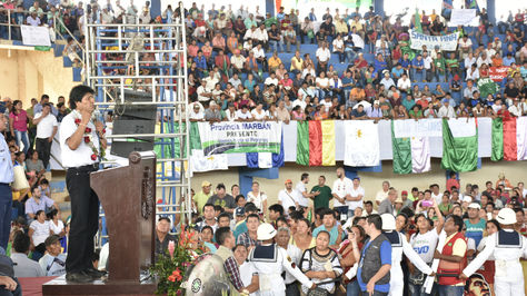 El presidente Evo Morales en la promulgación de la nueva Ley de Protección, Desarrollo Integral y Sustentable del Territorio Indígena Parque Nacional Isiboro-Sécure (TIPNIS).