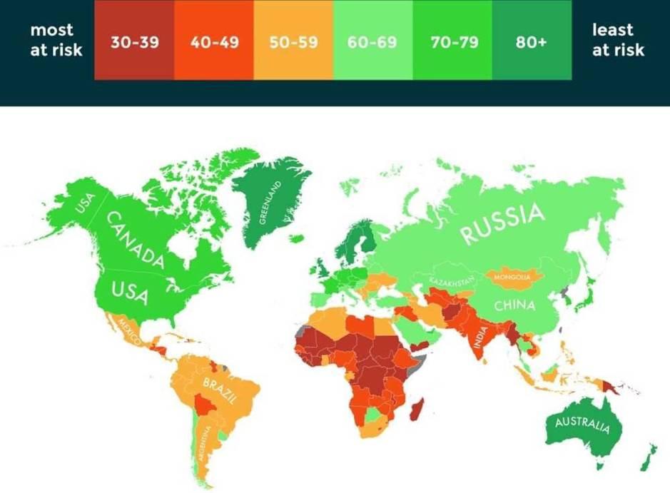 Infografía según el riesgo que supone el cambio climático para el país. (Notre Dame Global Adaptation Initiative)
