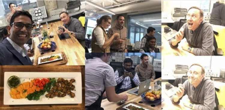 El equipo del fondo de inversión DFJ prueba la carne de Memphis Meats. La nueva empresa promete revolucionar la manera en que nos alimentamos (DFJ Posts)