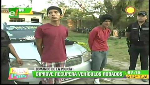 Diprove recupera 5 vehículos robados