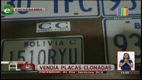 Cochabamba: Detienen a sujeto que vendía placas clonadas
