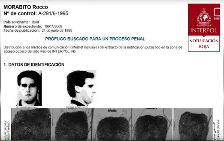 Circular roja de la Interpol del capo italiano.