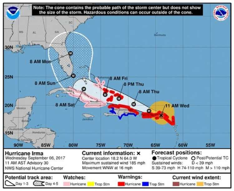 Pronóstico del Huracán Irma. Boletín de las 11am – miércoles 6