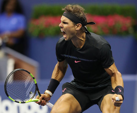 Nadal de España reacciona tras derrotar a Del Potro de Argentina en el Campeonato de Tenis Abierto de Estados Unidos. Foto: EFE