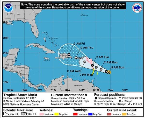Se emitió un alerta por el nuevo huracán María