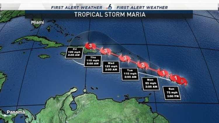 Los pronósticos indican que María podría tocar tierra en islas del Caribe como un huracán de categoría 2