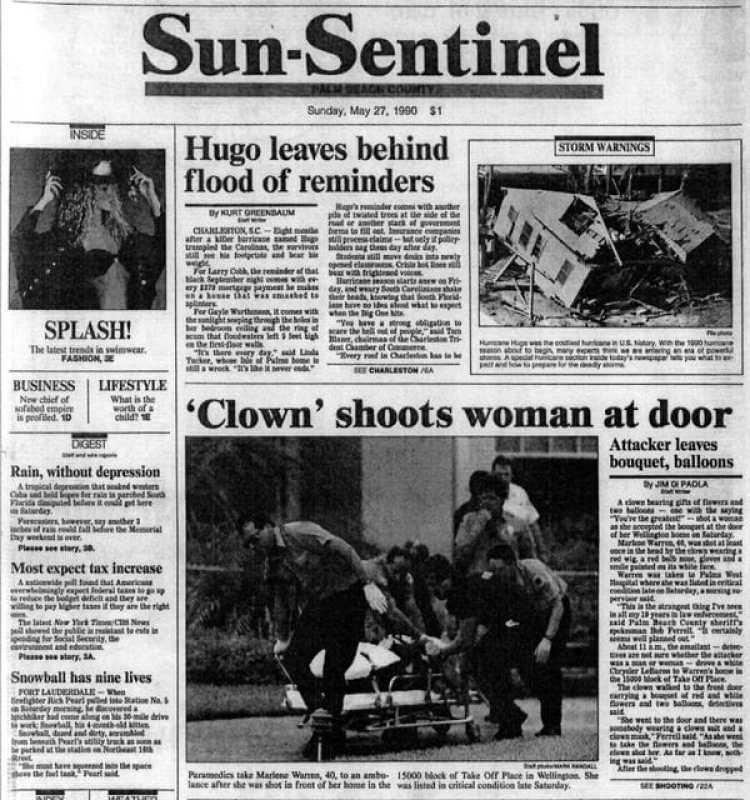 """La portada de The Sun-Sentinel del 27 de mayo: """"Un payaso mata a una mujer en la puerta (de su casa)"""""""