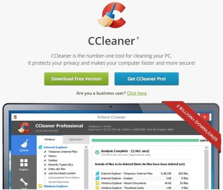 Actualización urgente debido a ataque de hackers — CCleaner