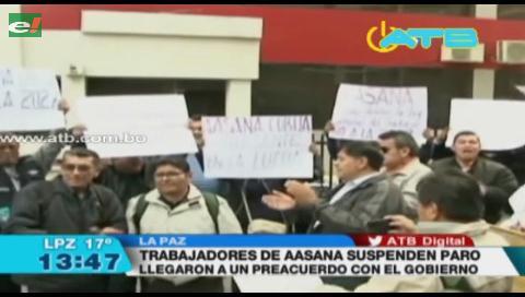 Trabajadores de Aasana suspenden paro indefinido