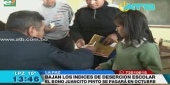 Gobierno presupuestó Bs 461 millones para el pago del bono Juancito Pinto