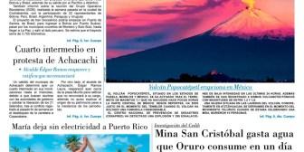 Portadas de periódicos de Bolivia del jueves 21 de septiembre de 2017