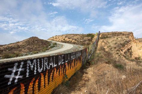 Vista parcial del muro fronterizo México-Estados Unidos. Foto: AFP