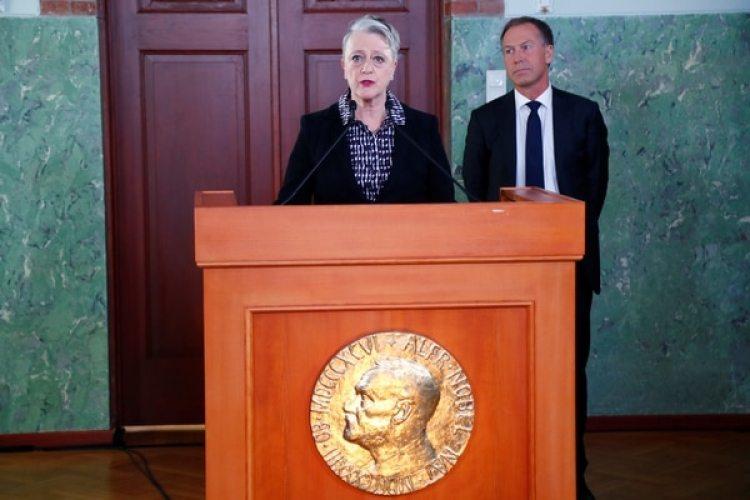 La presidente del Comité Noruego del Nobel Berit Reiss-Andersendurante el anuncio (Reuters)