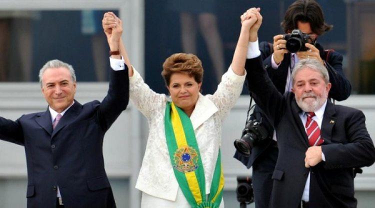 Michel Temer, Dilma Rousseff y Lula da Silva