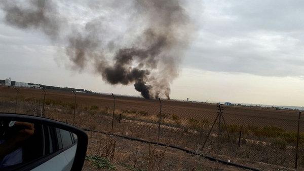 Fotos: se estrelló un avión militar en España