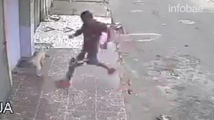 Desencajado, el hombre intentó patear al animal