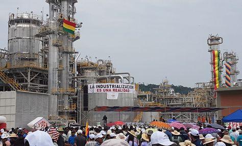 La planta de urea y amoniaco inaugurada este jueves 14 de septiembre por el presidente Evo Morales.