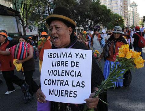 Un protesta contra los feminicidios en Bolivia. Foto: La Razón - archivo