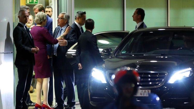 Una imagen a la salida de una de las infructuosas reuniones entre Theresa May y los líderes europeos(Photo by Dursun Aydemir/Anadolu Agency/Getty Images)