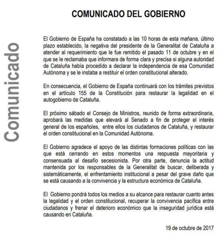El comunicado del Gobierno español