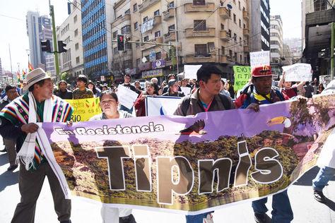 Movilización en defensa de la intangibilidad del TIPNIS en La Paz. Foto: Archivo