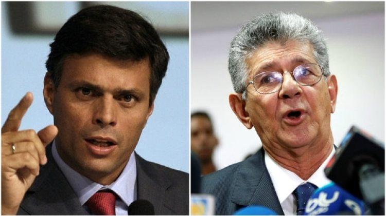 El líder de Voluntad Popular Leopoldo López y el secretario general de Acción Democrática Henry Ramos Allup