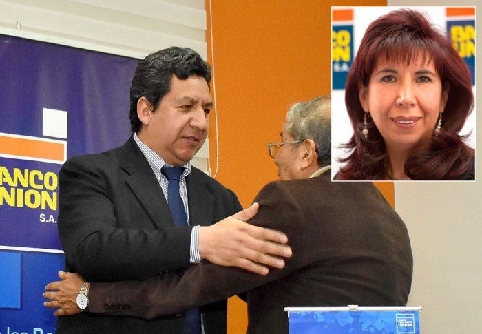 POSESIÓN DE NUEVO GERENTE DEL BANCO UNIÓN. EN RECUADRO MARCIA VILLARROEL, EXGERENTE.