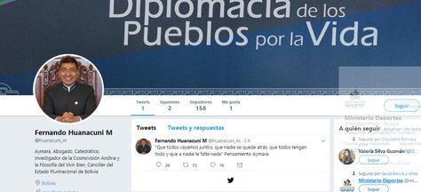Cuenta de la red social Twitter del canciller Fernando Huanacuni