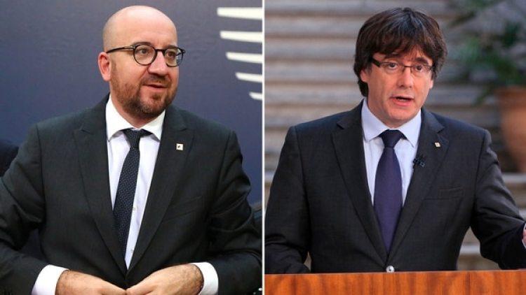 Charles Michel y Carles Puigdemont (AFP)