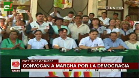 Cívicos cruceños y plataformas ciudadanas convocan a una marcha por la democracia