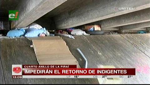 Alcaldía cruceña impedirá que indigentes vuelvan a la avenida Piraí
