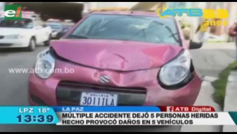 Múltiple colisión en La Paz deja 5 heridos