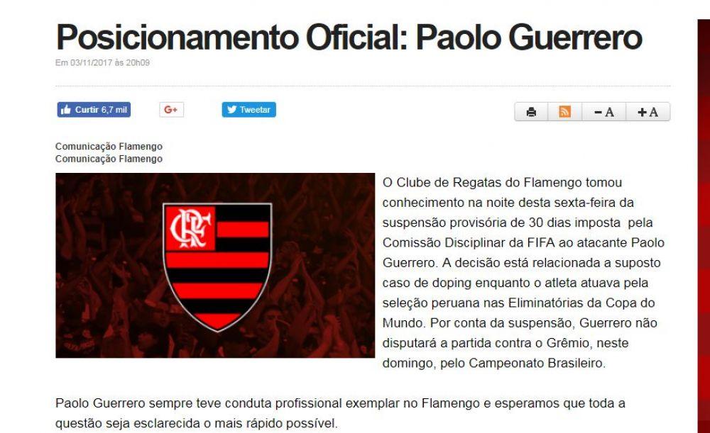 Comunicado oficial del Club Flamengo