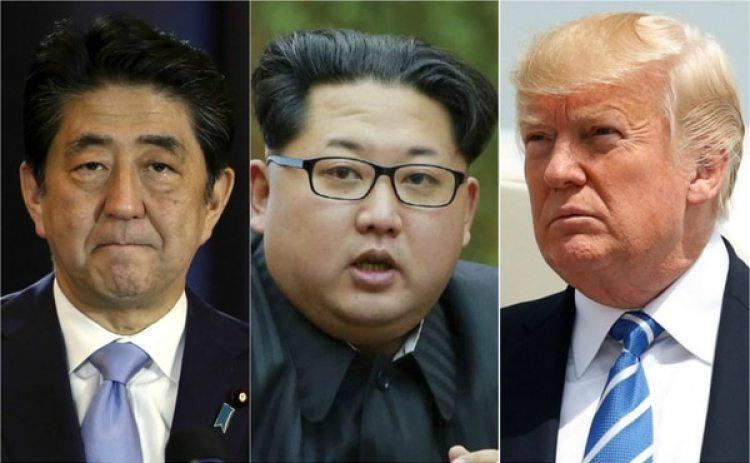 El primer ministro japonés Shinzo Abe, el dictador de Corea del Norte Kim Jong-un y el presidente de EEUU Donald Trump